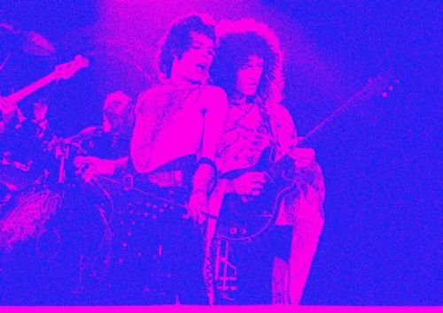 Queen - Freddie Mercury - band fade art blue/pink canvas print - self adhesive poster - photo print